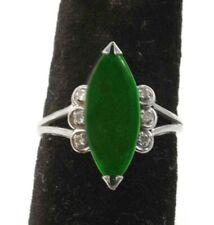 1920s Natural Color Jade Jadeite 14k White Gold Diamonds Antique Ring