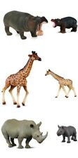 New CollectA Safari Animals Collection Hippo Rhino Giraffe and Calfs Toy Figures