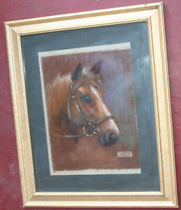 Vintage 1979 Animal Pastel Painting of a Horse Head
