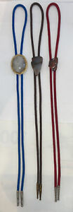 Vintage Bolo Tie Lot 3 Stone Agate Red Blue Brown