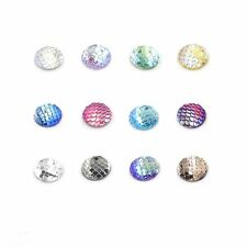 50PCS 12mm Fish Scales Style Jewelry Accessories Cabochons Cameo Resin Beads