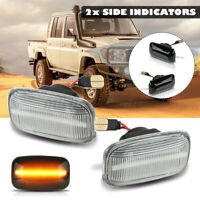 For Toyota Land Cruiser 70 80 100 Series Pair Clear Side Marker LED Signal Light