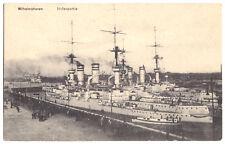 AK, Wilhelmshaven, Hafenpartie mit Kriegsschiffen, um 1914