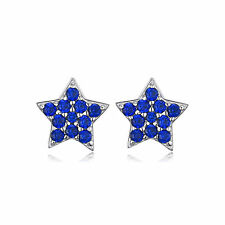 Dainty Blue Spinel Star Stud Earrings Solid Sterling Silver Special Gift Fashion