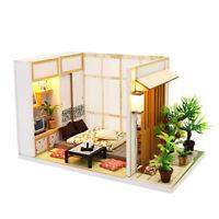 DIY Miniature Japanese Tatami Dollhouse Wooden Furniture LED Kit Birthday Gift