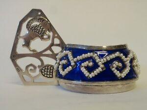 Russian 84 silver enamel pearl kovsh in the style of Faberge, 194 grams