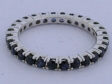 s R122 Genuine 9K SOLID White Gold NATURAL Sapphire FULL Eternity Ring Band sz M