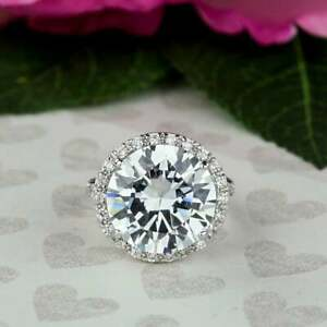 D/VVS1 14.00 CT Round Cut Diamond Halo Engagement Ring 14K White Gold Enhanced