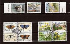 ALAND 2 Blocs oblit.+3 T neufs ,Fleurs,papillons,oiseaux  belle côte  82M 16T6