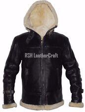 B3 Bomber Pilot Real Shearling Cream Fur Black Sheepskin Leather Jacket