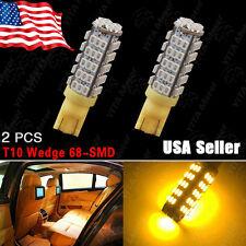 2X T10/194 Trailer 12V LED Lights Bulbs 68 SMD 3000K Amber Yellow DC 12V