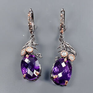 40 ct+ IF Quality Amethyst Earrings Silver 925 Sterling   /E57647