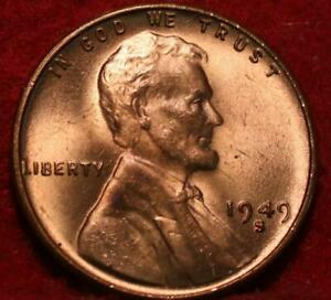 Uncirculated Red 1949-S San Francisco Mint Copper Lincoln Wheat Cent