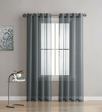 NEW - Linen Zone 2-Piece 54 -by-95-Inch Grommet Sheer Panel Curtains, Charcoal