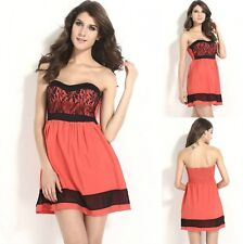 Sz 12 14 Coral Black Skater Strapless Formal Gown Cocktail Party Sexy Club Dress