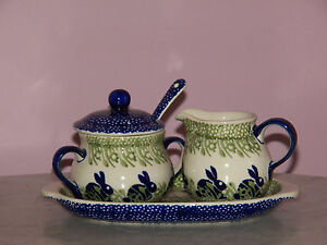 Polish Pottery Cream And Sugar 4 PC Set! Bunny Pattern!