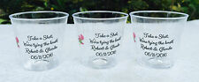 50 PERSONALIZED 1oz. PLASTIC SHOT CUPS for Bar at Wedding CLEAR PARTY FAVORS