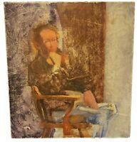 Vintage Framed Oil On Wood Painting Double Sided by Linda Kolar