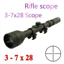 Tactical 3-7x28 Telescope Sight Scope with Free Mounts for Rifle Hunting New