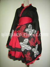 Gothic Lolita Cosplay Costume Lace Vintage Dress Japanese Kimono Butterfly Japan