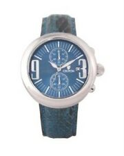 New Croton Crotalus Mens Blue Python Snake Skin Chronograph Watch Retail