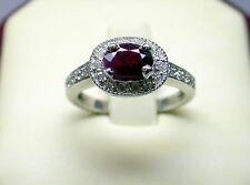 GENUINE RUBY AND DIAMOND RING 14 K WHITE GOLD 0.55 CT DIAMONDS