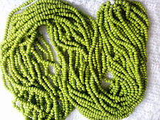 Vtg HANK SWEET PEA GREEN OPAQUE GLASS SEED BEADS 11/0 limited stock!  #102014s