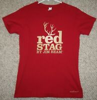 Large Tultex Red Solid WoMens Red Stag Jim Bean Crewneck Tee Shirt Short Sleeve