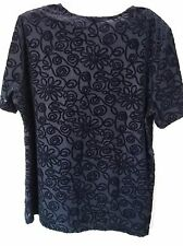 KATIES Black Short Sleeve Floral Design Textured Top Size 16