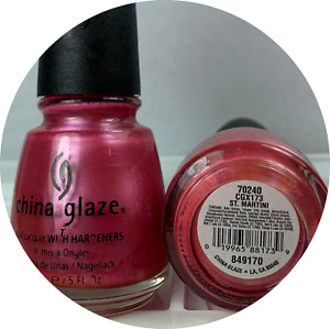 China Glaze Nail Polish ST. MARTINI 173 Pearly Frost Candy Pink Shimmer Lacquer