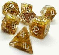 RPG Würfel Set 7-teilig Poly DND Rollenspiel Gold dice4friends w4-w20 Tabletop
