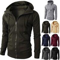 Men Winter Slim Hoodie Warm Hooded Coat Zip Up Outwear Sweater Jacket Sweatshirt