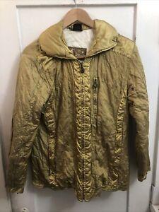 EMMEGI Designer Ski Wear Winter Coat Hooded Jacket Women Size EU 38 Golden