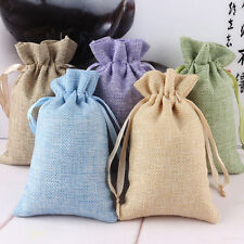 5Pcs Drawstring Linen Organza Wedding Party Favor Gift Candy Bags Jewelry Pouch