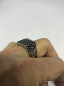 Vintage Silver Stainless Steel Black Onyx Size 12 Men's Ring