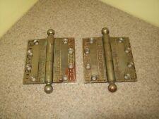 "Antique Vintage Solid Yale Silver Door Hinges 3 1/2"" (Set of 2)"