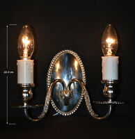 Stunning 1930s silver plated 2 arm patented wall light scones ram's head motifs