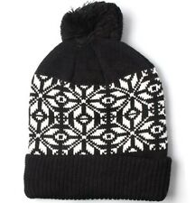 Hat Knitted Black White Snowflake Bobble Pompom One Size Unisex Mens Ladies