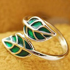 Hot New Fashion Cute Silver Korean style Double Green Leaf Leaves Ring Salable