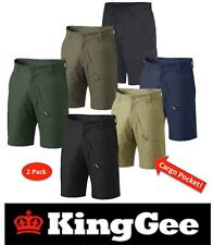 "KING GEE- PACK OF 2- MENS 'WORKCOOL 2' COTTON ""RIPSTOP"" CARGO WORK SHORTS K17820"