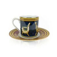 Authentic Gucci Vintage Porcelain Chair Design Coffee Cup and Saucer