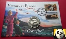 1995 TURKS AND CAICOS 5 Five Crowns VE-DAY Victory Ceasefire WWII PNC Coin Cover