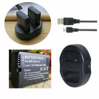 Battery Or DUAL USB Charger for Nikon EN-EL14A MH-24 & Nikon D3500 DSLR Camera
