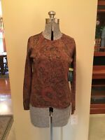 NWT Lauren Ralph Lauren Silk, Cashmere, Gold Metallic Paisley Sweater, Sz M
