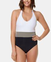 Bleu by Rod Beattie Colorblocked One-Piece Swimsuit  $119 Size 10 # U2 334 NEW