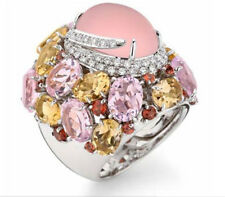 Charm Women Jewelry 925 Silver Pink Moonstone Birthstone Cocktail Ring Sz6-10