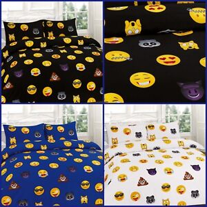 Luxury New EMOJI Poly-cotton Duvet Cover With Pillowcase Single Double King