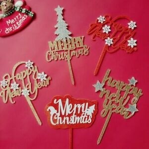 Merry Christmas Glitter Stars Cake Toppers New Year Party Cupcake Dessert Decors