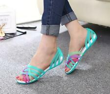 HOT Women summer beach flat sandals open toe jelly colorful hollow up shoes N45