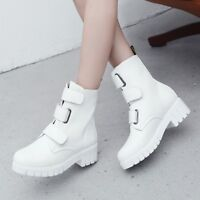 Women Buckle Round Toe Platform Block Chunky Heels Riding Ankle Boots Shoes Roma